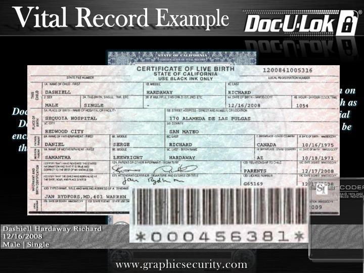 Vital Record Example