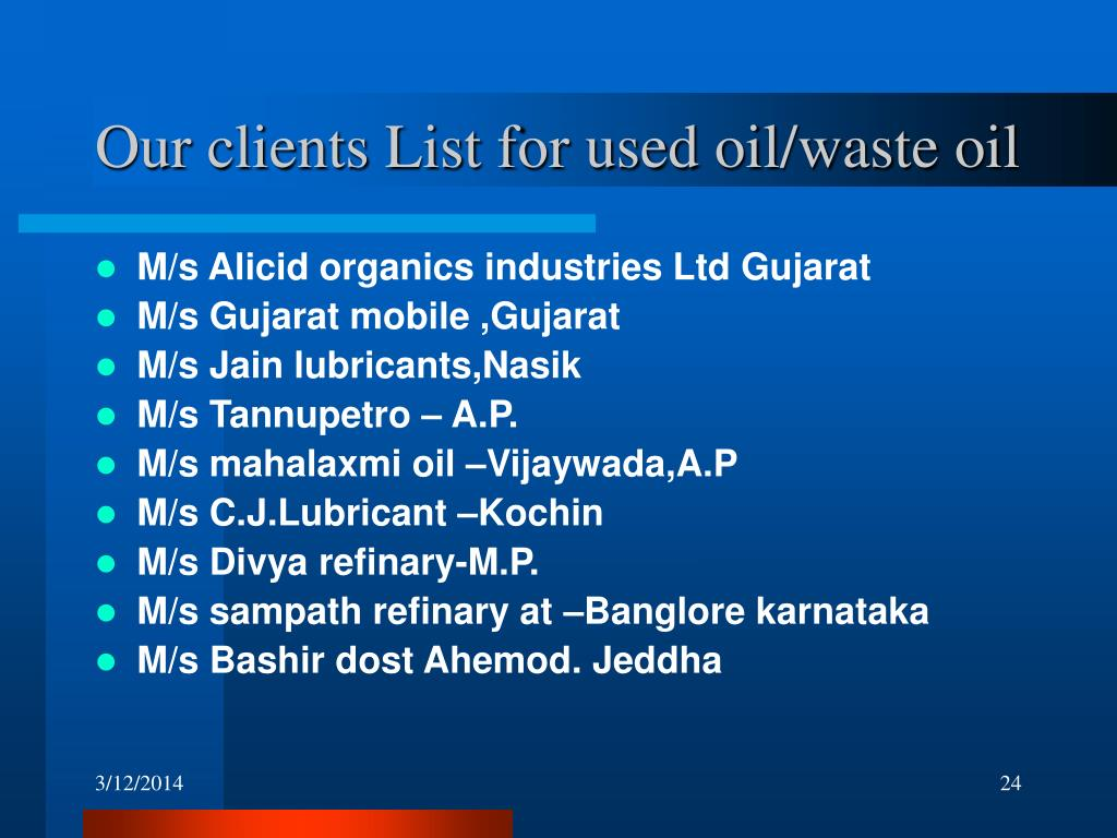Our clients List for used oil/waste oil