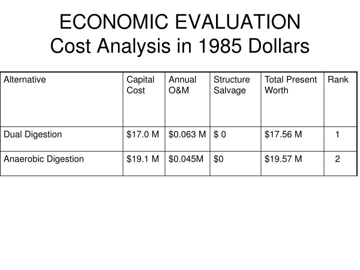 Economic evaluation cost analysis in 1985 dollars