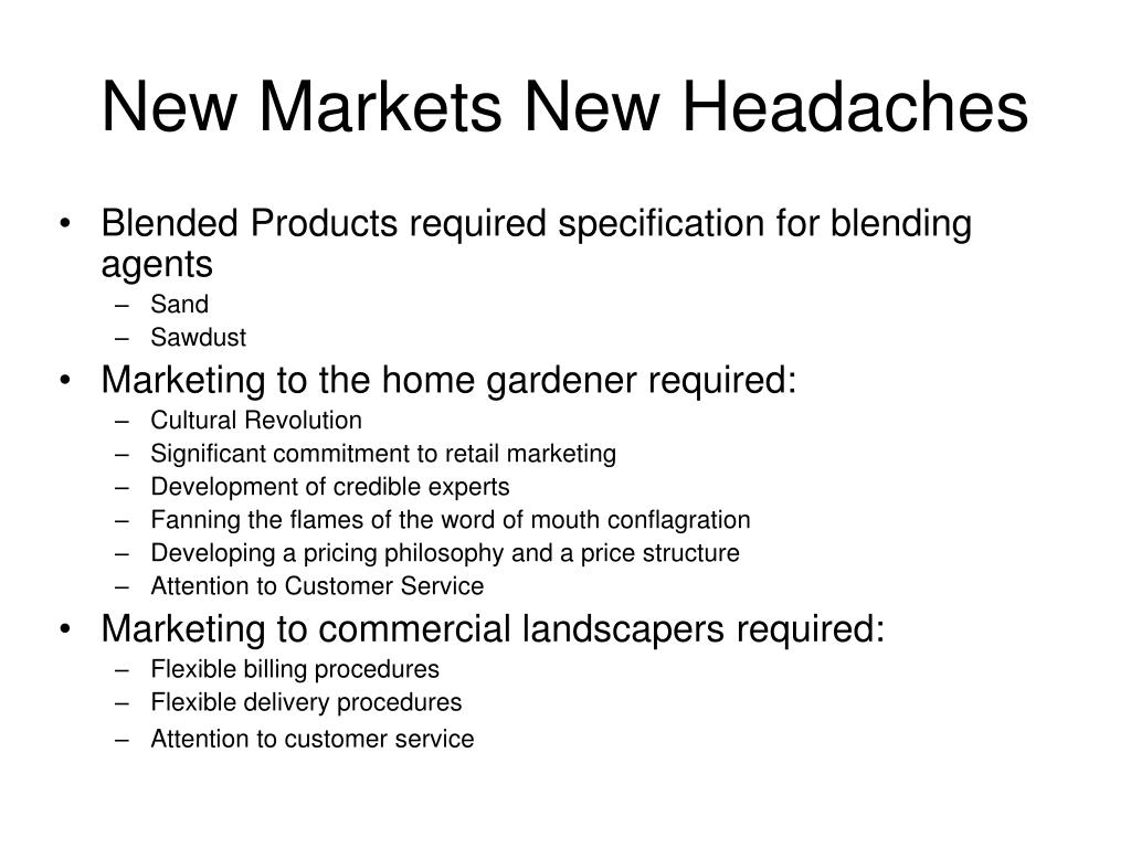 New Markets New Headaches