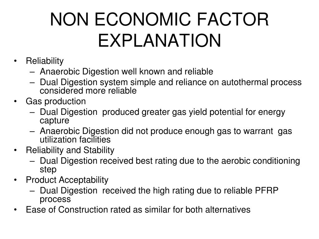 NON ECONOMIC FACTOR EXPLANATION