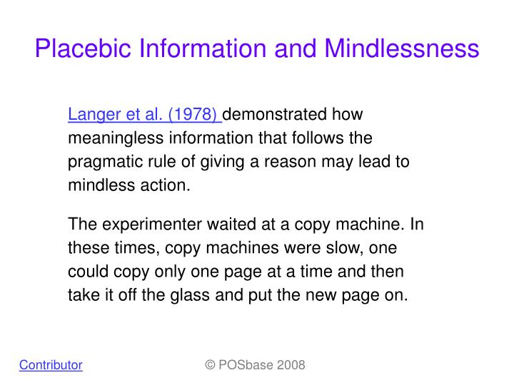 placebic information and mindlessness n.