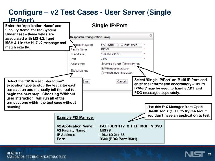 Configure – v2 Test Cases - User Server (Single IP/Port)