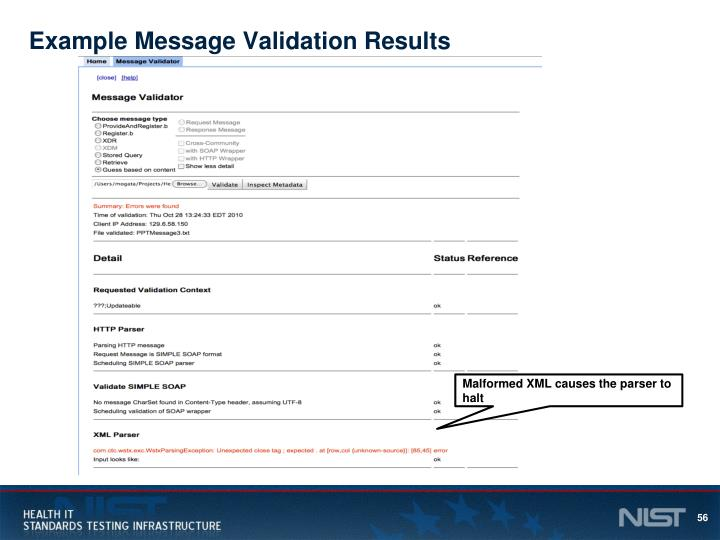 Example Message Validation Results