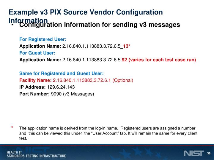 Example v3 PIX Source Vendor Configuration Information