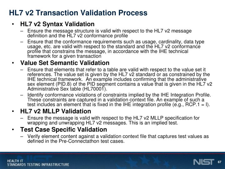 HL7 v2 Transaction Validation Process