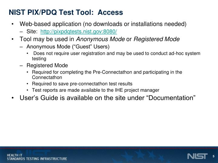 NIST PIX/PDQ Test Tool:  Access