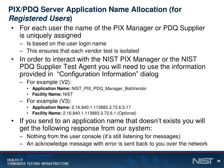 PIX/PDQ Server Application Name Allocation (for