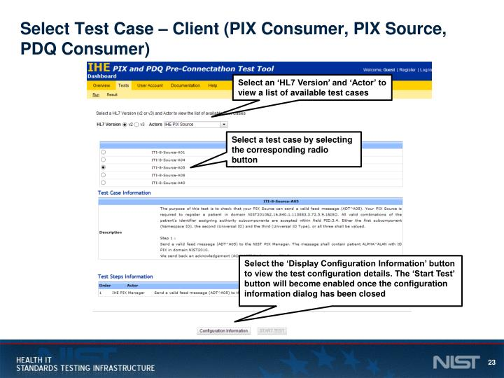 Select Test Case – Client (PIX Consumer, PIX Source, PDQ Consumer)
