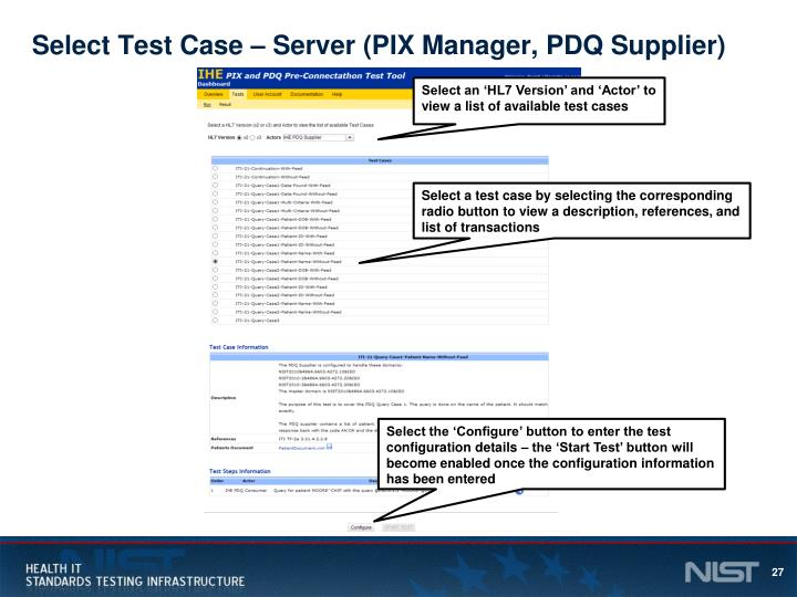 Select Test Case – Server (PIX Manager, PDQ Supplier)