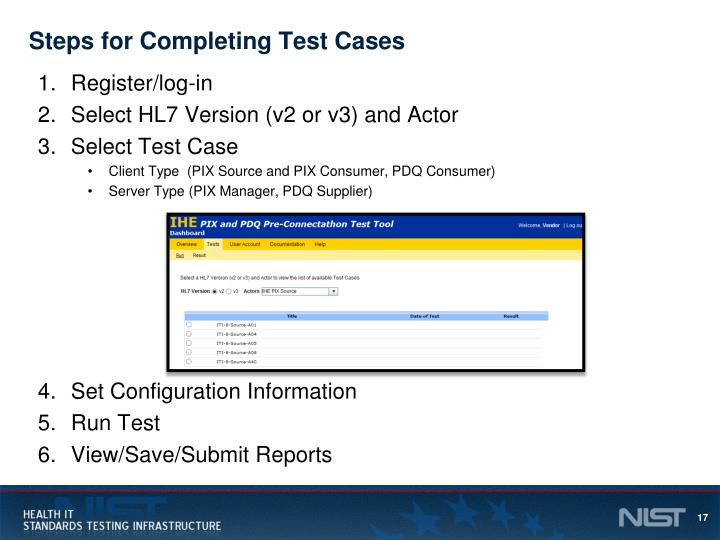 Steps for Completing Test Cases