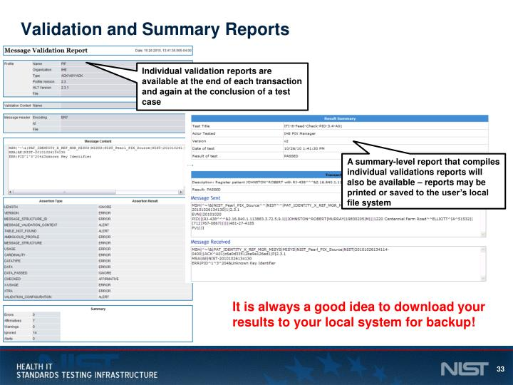 Validation and Summary Reports