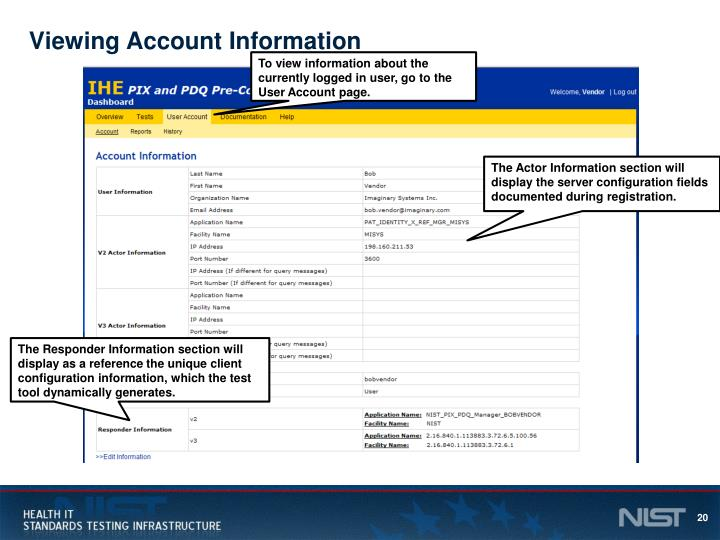 Viewing Account Information