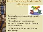 step 8 evaluating the decision s effectiveness