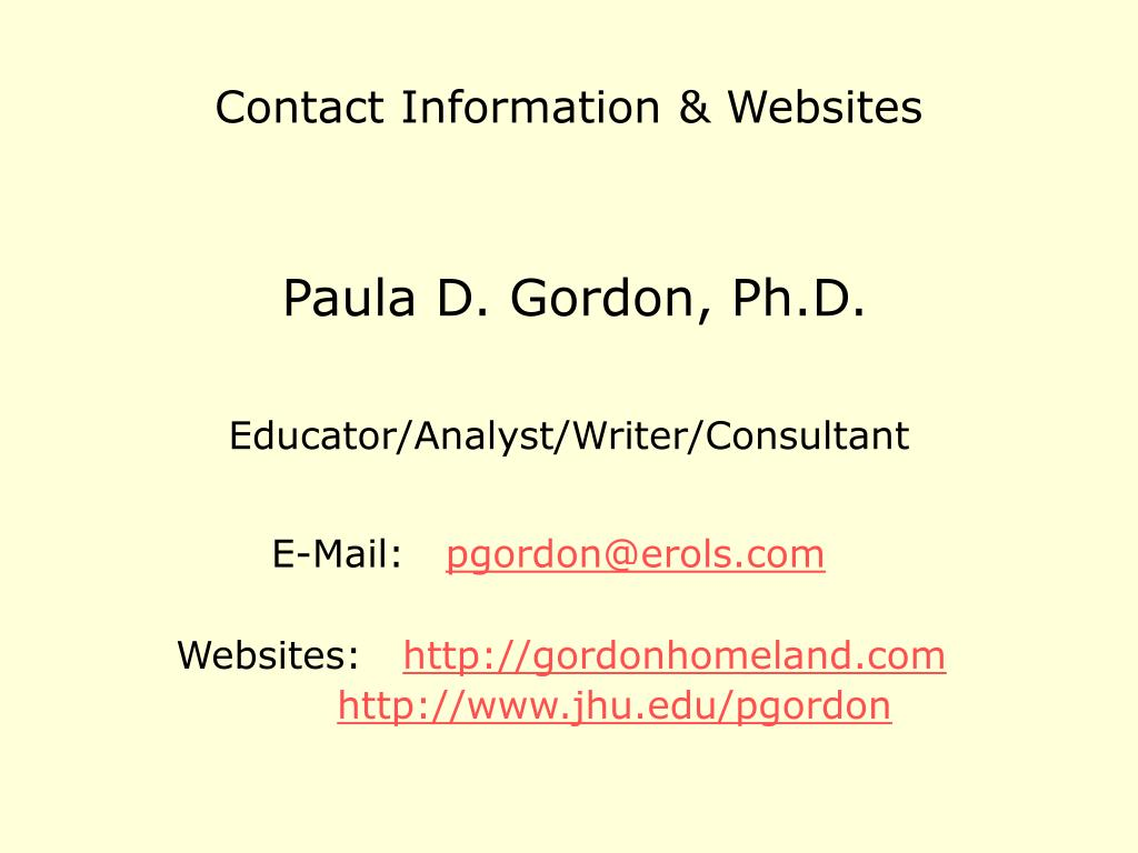 Contact Information & Websites
