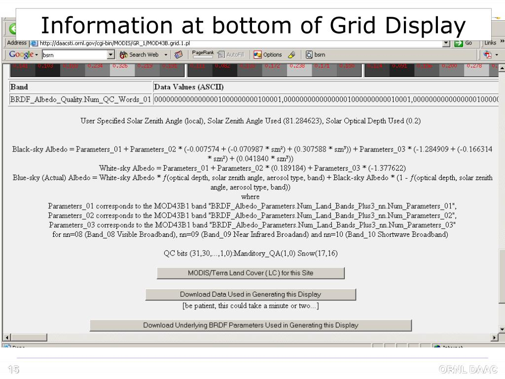Information at bottom of Grid Display