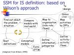ssm for is definition based on wilson s approach