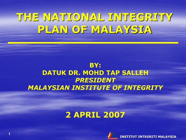 the national integrity plan of malaysia n.