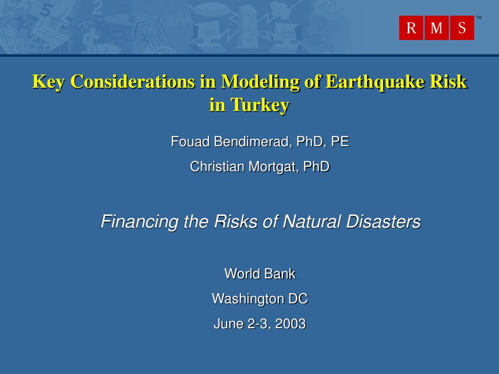 key considerations in modeling of earthquake risk in turkey l.