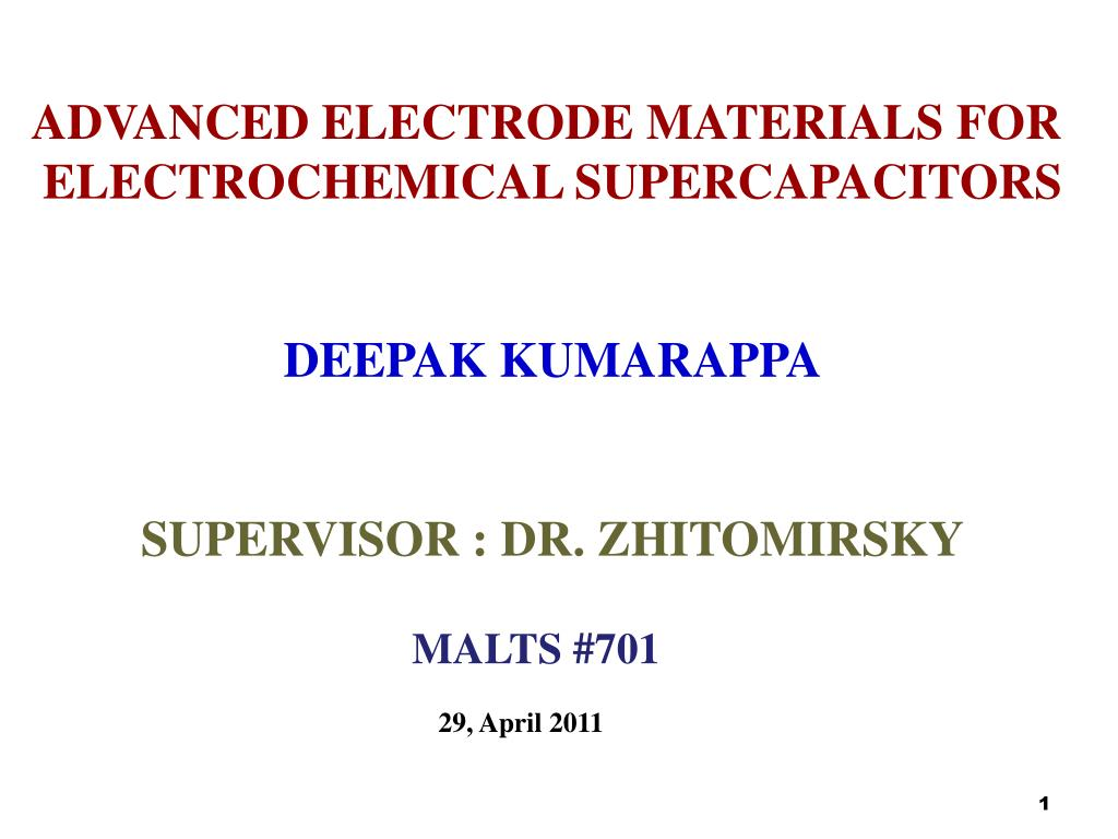 PPT - ADVANCED ELECTRODE MATERIALS FOR ELECTROCHEMICAL