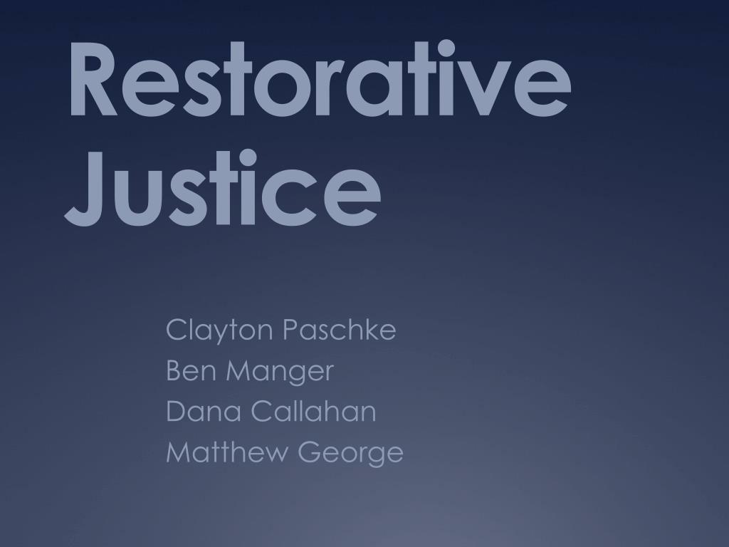 restorative justice reflection essay Restorative justice introduction - продолжительность: 5:45 centralmichiganrj 45 635 просмотров reconciliation through restorative justice - продолжительность: 6:59 department of justice canada 4 783 просмотра.
