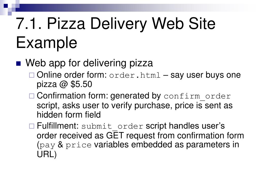 7.1. Pizza Delivery Web Site Example