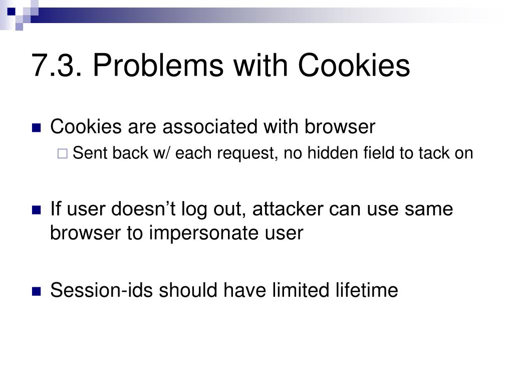 7.3. Problems with Cookies