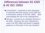 differences between as 4269 as iso 1000213