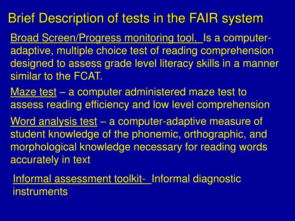 Brief Description of tests in the FAIR system