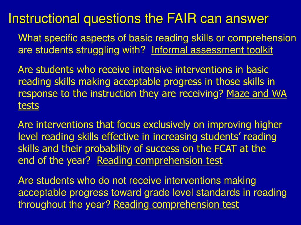 Instructional questions the FAIR can answer