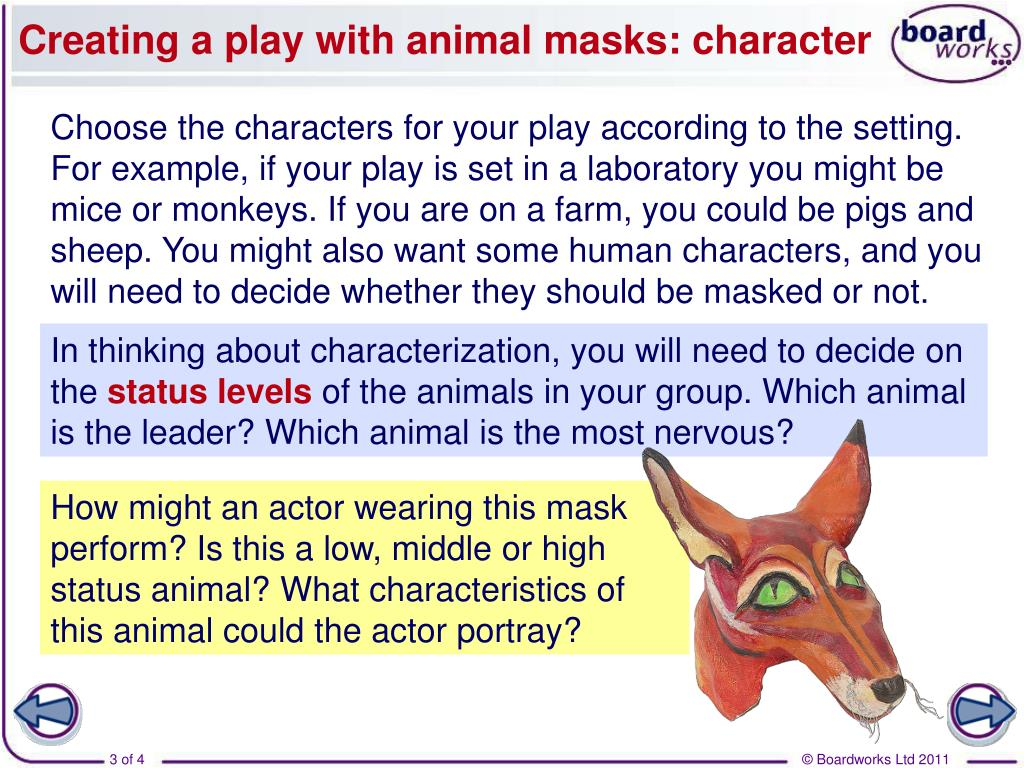 Creating a play with animal masks: character