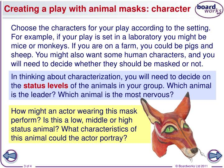 Creating a play with animal masks character