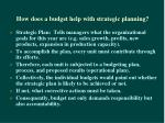 how does a budget help with strategic planning