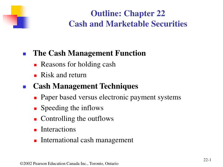 outline chapter 22 cash and marketable securities n.