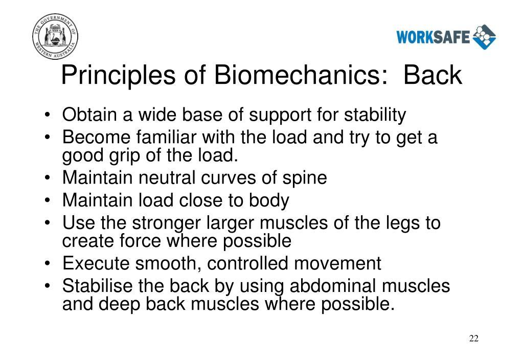 Principles of Biomechanics:  Back