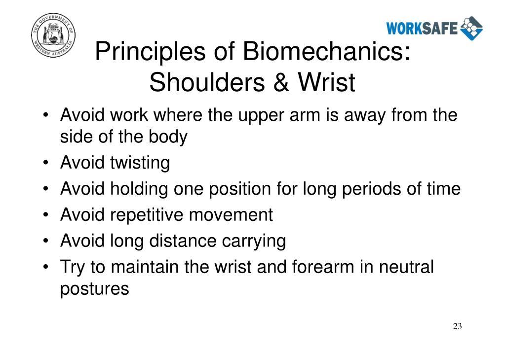 Principles of Biomechanics:  Shoulders & Wrist