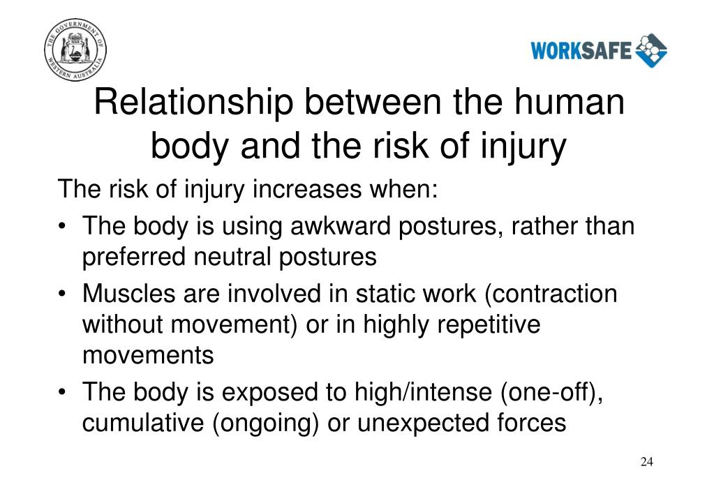 Relationship between the human body and the risk of injury