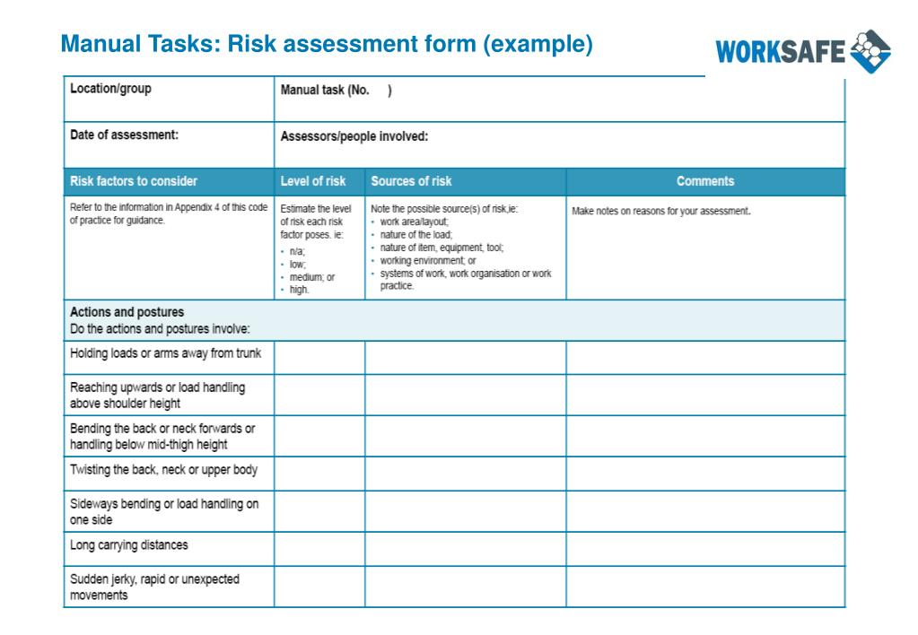 Manual Tasks: Risk assessment form (example)