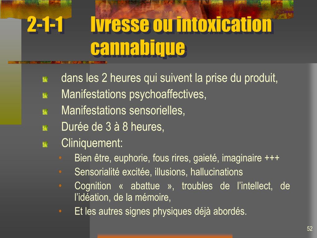 2-1-1Ivresse ou intoxication cannabique