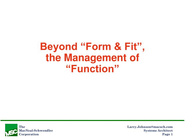 beyond form fit the management of function n.