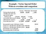 example vortec special order with no overtime and congestion