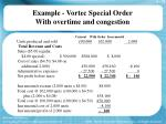 example vortec special order with overtime and congestion