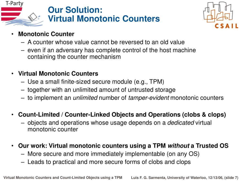 PPT - Virtual Monotonic Counters and Count-Limited Objects Using a