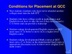 conditions for placement at qcc