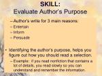 skill evaluate author s purpose