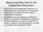 measuring effect size for the independent measures t