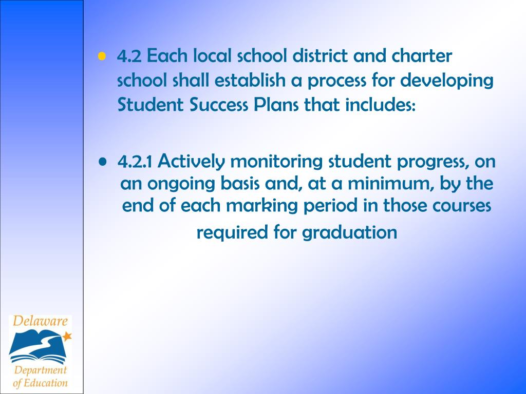 4.2 Each local school district and charter school shall establish a process for developing Student Success Plans that includes: