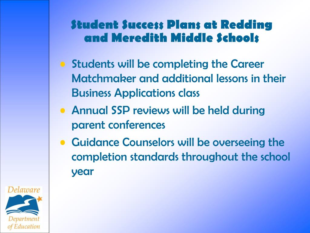 Student Success Plans at Redding and Meredith Middle Schools