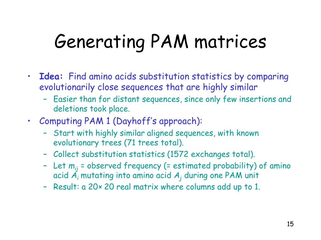 Generating PAM matrices