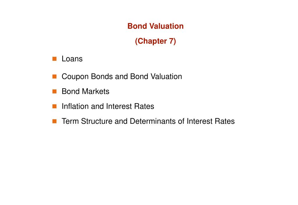 chapter 10 homework bonds and stocks characteristics and valuations Financial management, identification and use of data, the time value of money, interest rates and bond valuations, stock valuation models, financial markets and the risk/return tradeoff the.
